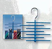 KRAWATTENBÜGEL für 21 Krawatten blau Krawattenhalter Gürtelhalter Schlipsbügel
