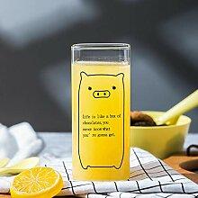 Kreativ bedruckte Milchglasbecher Milchtee