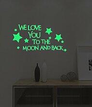 Kreativ Leuchtend Englische Buchstaben Sterne Wandsticker Kinder Schlafzimmer Dekoration