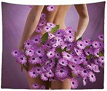 Kreativ Mädchen mit Lila Gänseblümchen Blumen