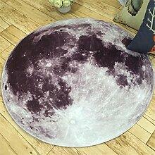 kreativ Persönlichkeit Erde Mond Runde Teppich Salon Schlafzimmer Bettseite Computer-Stuhl Mats ( farbe : Moon , größe : Diameter 80cm )