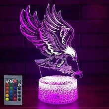 Kreative 3D Adler Nacht Licht 16 Farben Andern