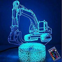 Kreative 3D Bagger Nacht Licht 16 Farben Andern
