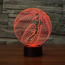 Kreative 3D Basketball Nacht Licht 7 Farben Andern