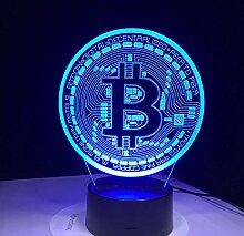 Kreative 3D Bitcoin Nacht Licht 7 Farben Andern