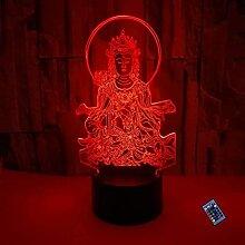 Kreative 3D Buddha Nacht Licht 16 Farben Andern