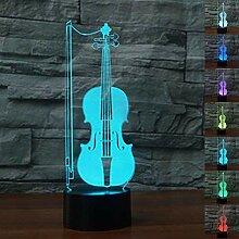 Kreative 3D Cello Nacht Licht 7 Farben Andern Sich