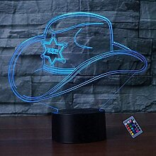 Kreative 3D Cowboy Hut Nacht Licht 16 Farben