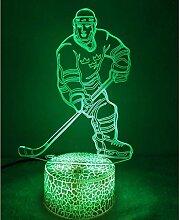 Kreative 3D Eishockey Nacht Licht 7 Farben Andern