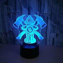 Kreative 3D Feuer Bekämpfen Nacht Licht 7 Farben