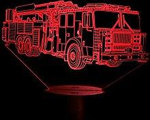 Kreative 3D Feuerwehr Auto Nacht Licht 7 Farben