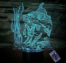 Kreative 3D Fisch Nacht Licht 16 Farben Andern
