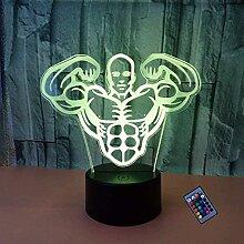 Kreative 3D Fitness Nacht Licht 16 Farben Andern