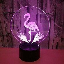 Kreative 3D Flamingo Nacht Licht 7 Farben Andern