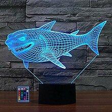 Kreative 3D Hai Lampe Nachtlicht Fernbedienung USB