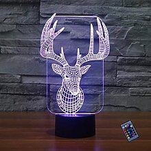 Kreative 3D Hirsch Nacht Licht 16 Farben Andern