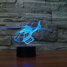 Kreative 3D Hubschrauber Nacht Licht 7 Farben