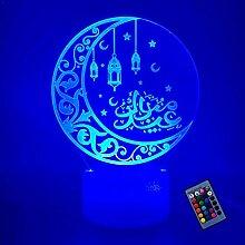 Kreative 3D Islamische Lampe 16 Farben Andern Sich
