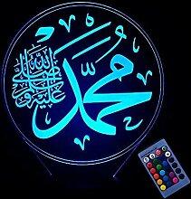Kreative 3D Islamisches Nachtlicht 16 Farben