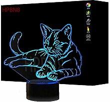 Kreative 3D Katze Lampe USB Power 7 Farben Amazing