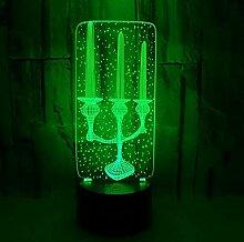 Kreative 3D Kerze Stereo Nachtlicht Bunte Acryl