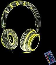 Kreative 3D Kopfhörer Headset Nacht Licht 16