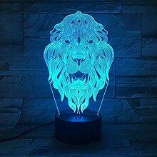 Kreative 3D Löwe Nacht Licht 7 Farben Andern Sich