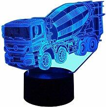 Kreative 3D Mischer Lkw Nacht Licht 7 Farben
