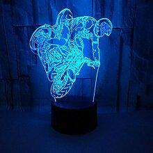 Kreative 3D Motorrad Nacht Licht 7 Farben Andern
