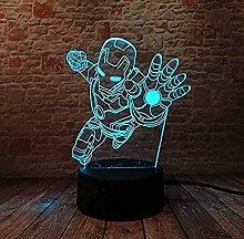 Kreative 3D-NachtlichtlampeSuperheld Iron Man 7