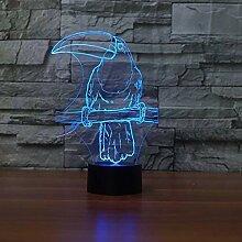 Kreative 3D Papagei Nacht Licht 7 Farben Andern