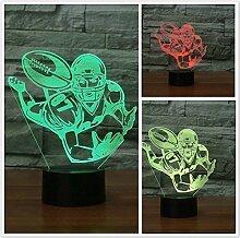 Kreative 3D Rugby Nacht Licht 7 Farben Andern Sich