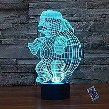 Kreative 3D Schildkröte Nacht Licht 16 Farben