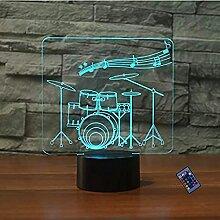 Kreative 3D Schlagzeug Nacht Licht 16 Farben
