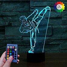 Kreative 3D Taekwondo Nacht Licht Lampe