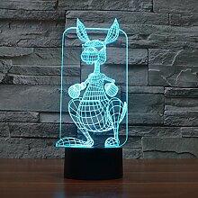 Kreative 3D Tischlampe, Känguru-Form, Tier