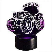 Kreative 3D Traktor Nacht Licht 7 Farben Andern