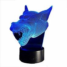 Kreative 3D Wolf Nacht Licht 7 Farben Andern Sich
