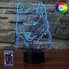 Kreative 3D Wolf Nacht Licht Lampe USB Power