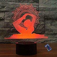 Kreative 3D Yoga Nacht Licht 16 Farben Andern Sich