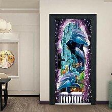 Kreative Cartoon Delfin Tür Aufkleber, verwendet