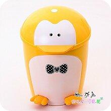 Kreative Cartoon Fuß Papierkorb die Pinguine home Wohnzimmer Schlafzimmer Mülleimer abdecken kann, Gelb