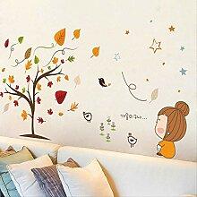 Kreative Cartoon Mädchen Ahorn Baum Aufkleber