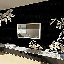 Kreative diagonal elegante Pflanze Blume große Wand Spiegel Aufkleber am besten DIY Dekoration für Fernseher Sofa Hintergrund Innenausstattung R008, Rot, S