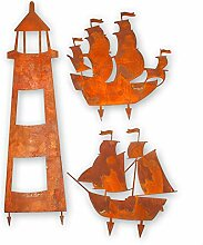 Kreative Feder Edelrost-Set Leuchtturm Segelschiff