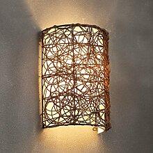 Kreative handgemachte Rattan Balkon Balkon Tür Licht ( Farbe : Braun )