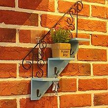 Kreative handwerk holz trapezgewinde flower rack wand wand-dekoration storage regal-A