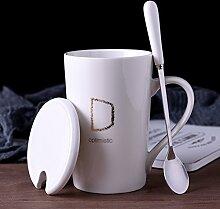 Kreative keramik-becher mit deckel löffel kaffee