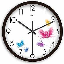 Kreative Mode Einfach Wanduhr/Europäische Garten Uhr/Wohnzimmer Ruhig Wanduhr-B 12Zoll