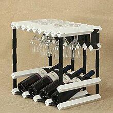 Kreative Multifunktions-Massivholz- und Stahlkombination Weinregale Hänge ein Glasregal Kann 4 Flaschen Wein +9 Becher legen Kreuzstruktur Dekorrahmen ( Color : White )